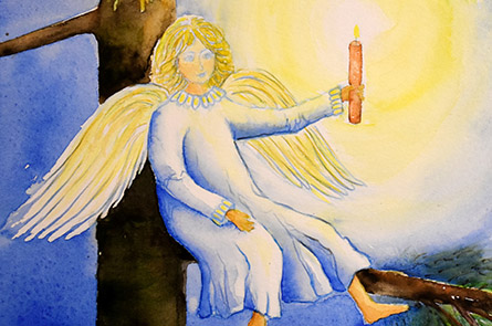 Engel mit Kerzenlicht