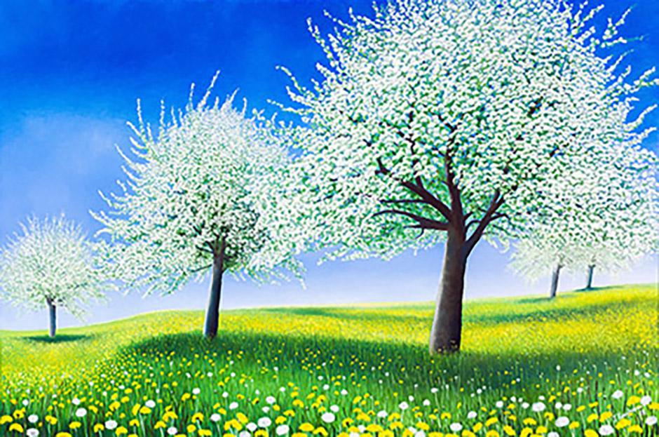 Blühendes Apfelland